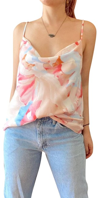 Item - Pink Multicolor Printed Floral Cowl-neck Tank Top/Cami Size 8 (M)