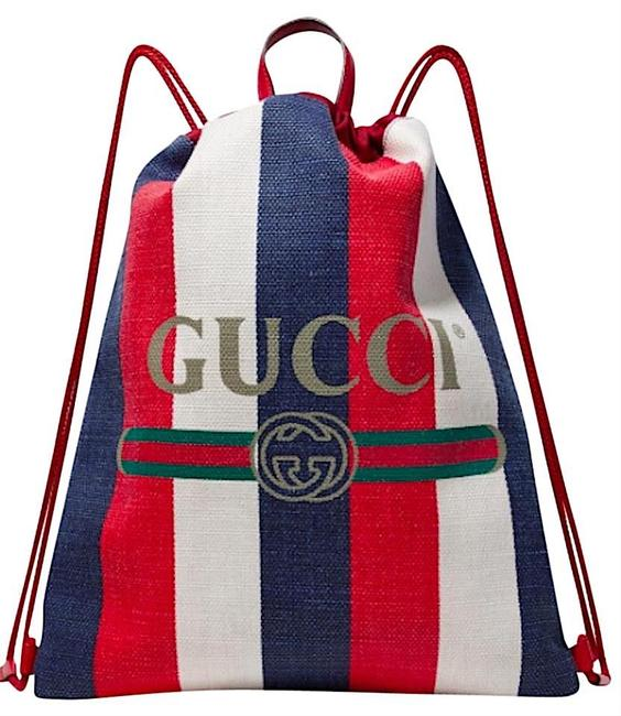 Item - Drawstring Stripe White Navy Red Canvas Backpack