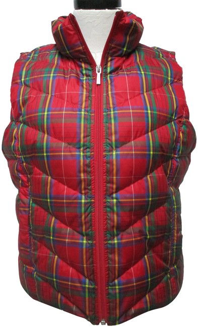 Item - Red Plaid Quilted Puffer Zip Pockets Medium Vest Size Petite 10 (M)
