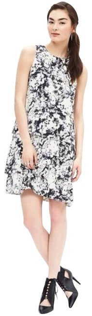 Item - Black Tiered Ruffle Paint Splatter White Short Casual Dress Size 6 (S)