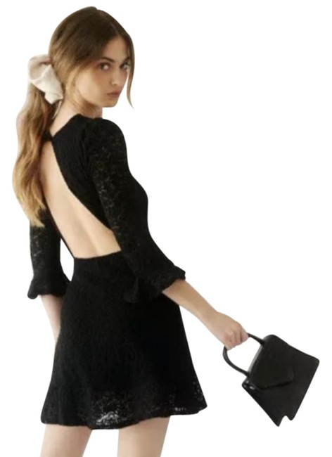 Item - Black Free People Clothing Lace Open Short Cocktail Dress Size 12 (L)