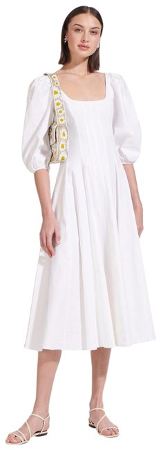 Item - White Swells Puff Sleeve A Line Square Neck Linen Midi Mid-length Casual Maxi Dress Size 10 (M)