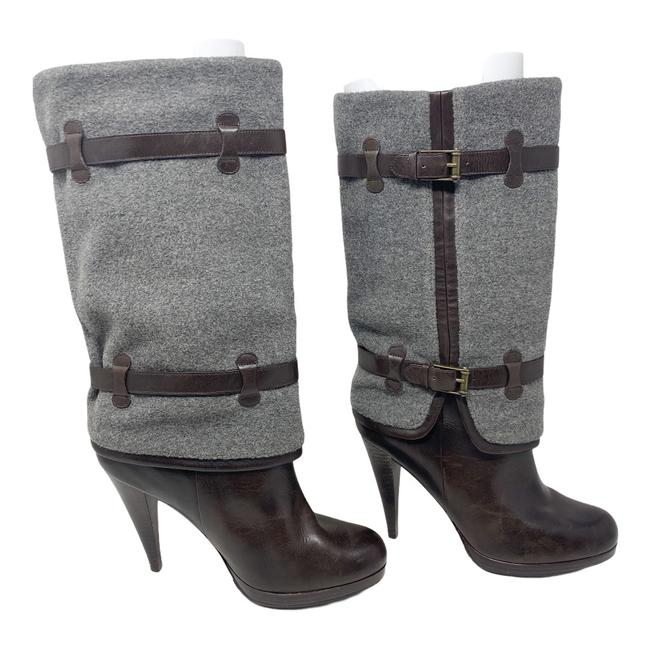 Item - Gray/Brown Kennedy Wool and Leather Mid Calf Boots/Booties Size US 10 Regular (M, B)
