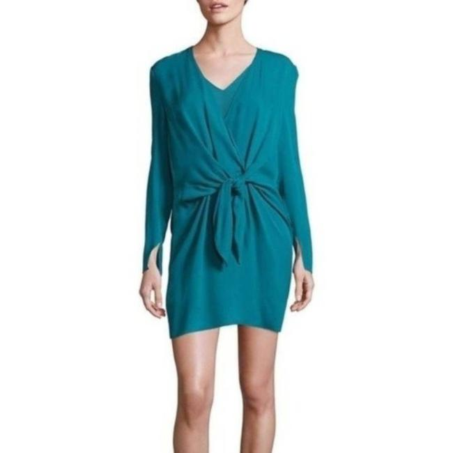 Item - Blue Silk Tie- Front Long Sleeve Cocktail Dress Size 10 (M)