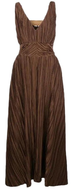 Item - Brown V Neck Pleated Buckle Open Back Midi Mid-length Cocktail Dress Size 8 (M)