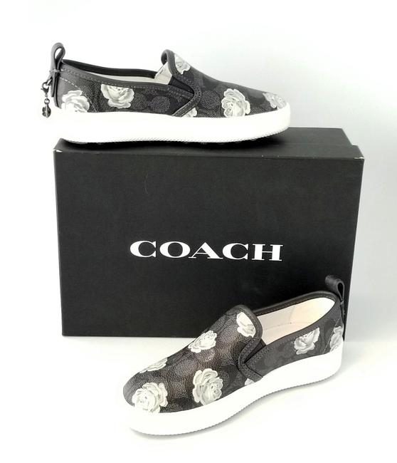 Item - Black C115 Coated Signature C Canvas Floral Print Slip On Sneakers Size US 5 Regular (M, B)