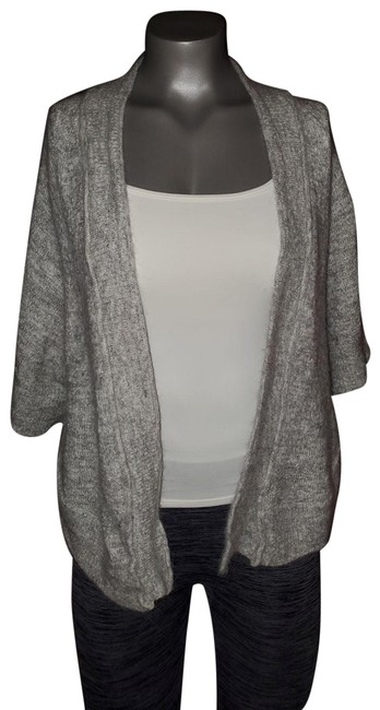 Item - Silver/Gray Kitted and Knotted Fuzzy Dolman Sweater Wrap Cardigan Size 8 (M)