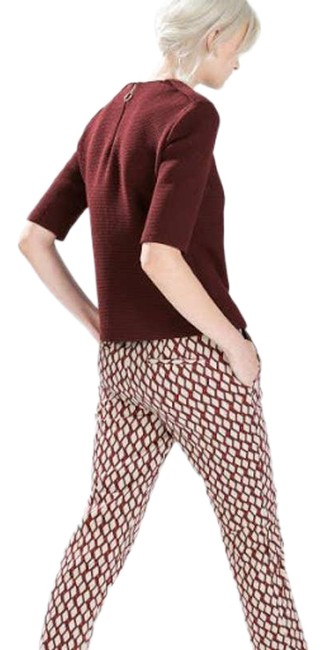 Item - Red Maroon Geometric Trouser Pocket Pants Size 6 (S, 28)