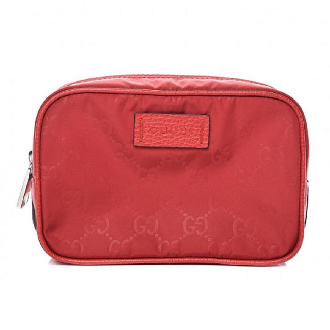 Item - Red Small Pouch Gg Logo Zip ssima Nylon 510341 Cosmetic Bag