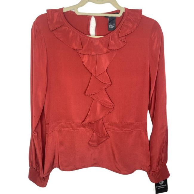Item - Red Silk Ruffle Small Blouse Size 4 (S)