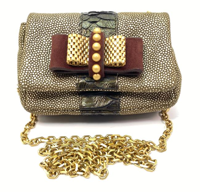Christian Louboutin Chain Bag Sweet Charity Gold Shoulder Bronze Leather Clutch Christian Louboutin Chain Bag Sweet Charity Gold Shoulder Bronze Leather Clutch Image 1
