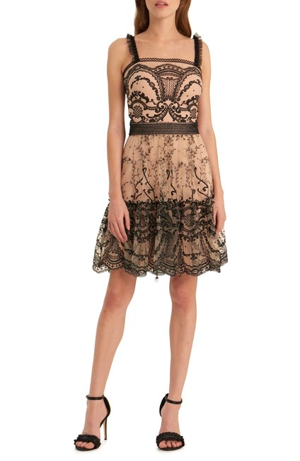 Item - Jet/Nude Embroidered Mesh Fit & Flare Short Cocktail Dress Size 8 (M)