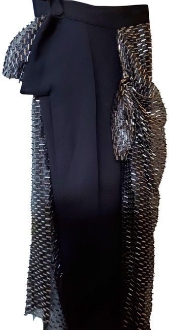 Item - Black Silver Toreador with Wrap Around Beaded Skirt Pants Size 4 (S, 27)