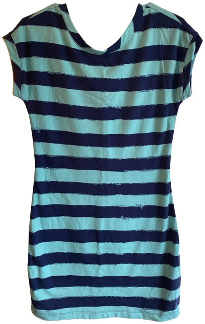 Item - Teal and Blue Striped Crystal Water Take Off Anastasia Short Casual Dress Size 0 (XS)