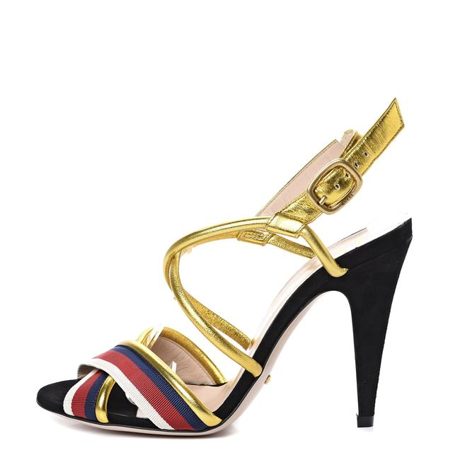 Item - Multicolor Sylvie Gg Web Stripe Metallic Crossover Stiletto Sandals Size EU 37.5 (Approx. US 7.5) Regular (M, B)