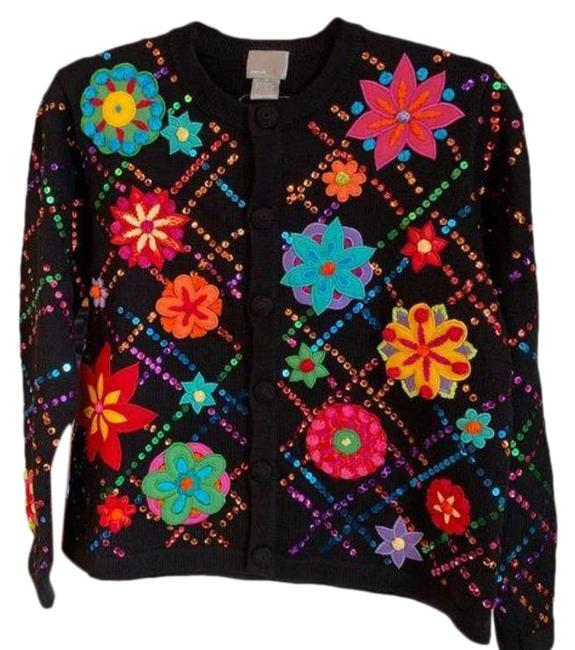 Item - Neon Floral Sequined Cardigan Black Red Sweater