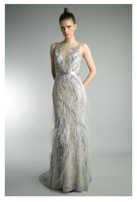 Item - Silver Feather Gown Long Formal Dress Size 10 (M)
