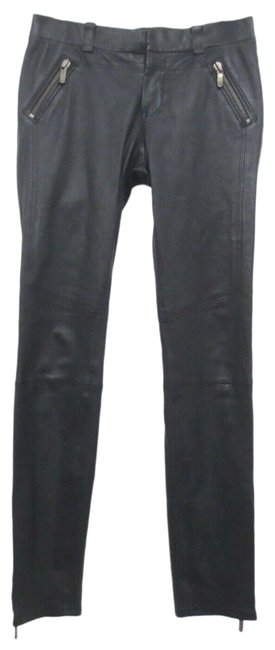 Item - Black - Lamb Leather Zip Detail Elastic Waist Motorcycle Pan Pants Size 4 (S, 27)
