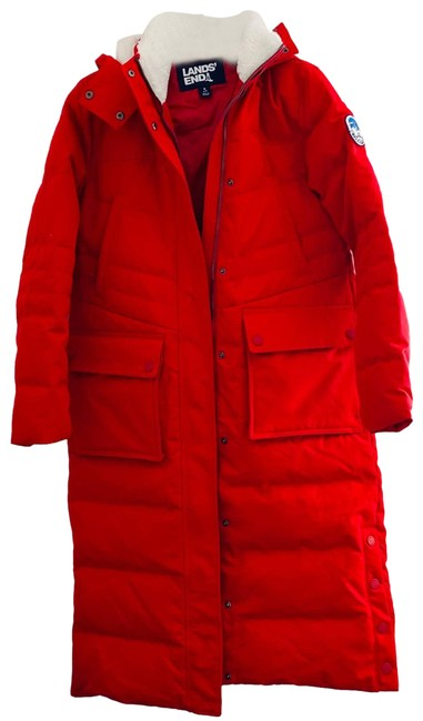 Item - Red Quilted Puffer Full Length Coat Jacket Size 6 (S)