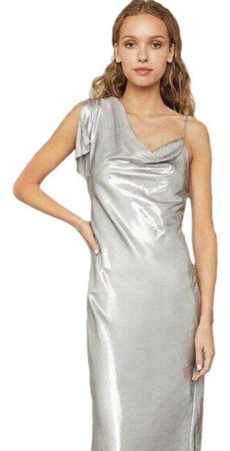Item - Silver XS Bgbg Satin One-sleeve Gown Long Casual Maxi Dress Size 0 (XS)