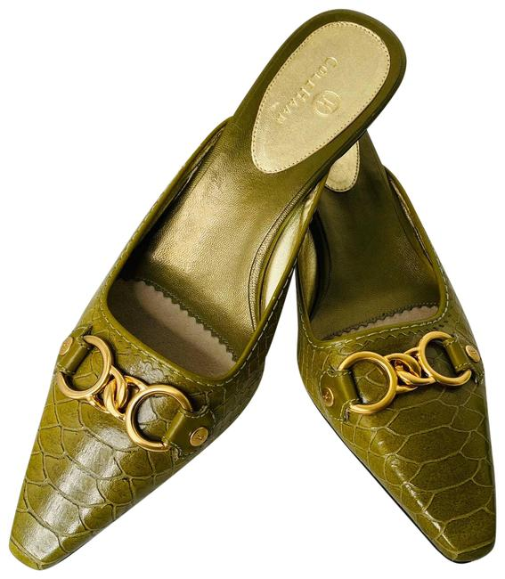 Item - Green Leather Print Pointed Mules/Slides Size US 8.5 Regular (M, B)