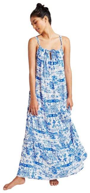 Item - Blue New Jasmine Tiered Adjustable Tie Front Maxi Dress Cover-up/Sarong Size 6 (S)