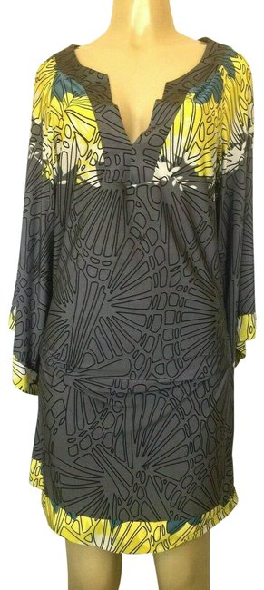 Item - Gray Jersey Ruch Sheath Yellow Vneck Short Casual Dress Size 8 (M)