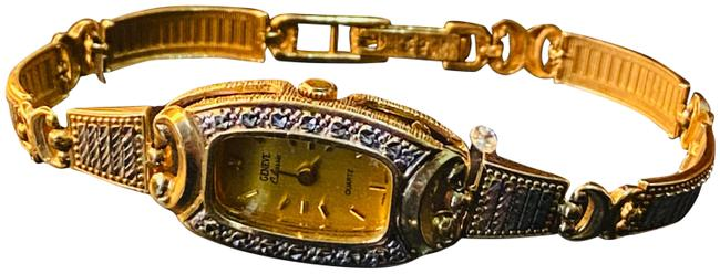 Item - White Gold Yellow Gold 10k Womens Solid Band Geneve Quartz Watch