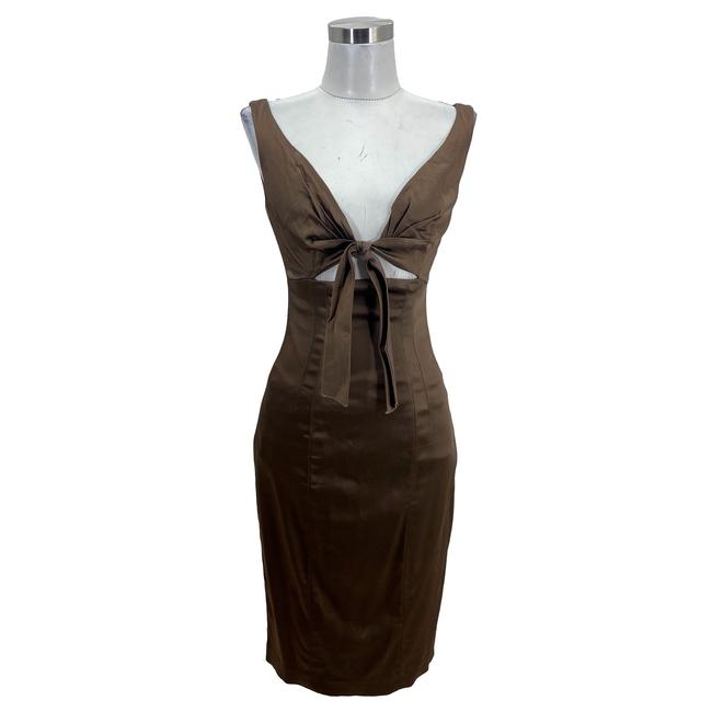 Item - Brown XS N1619 Designer Shiny Sheath Tie Front Mid-length Formal Dress Size 2 (XS)