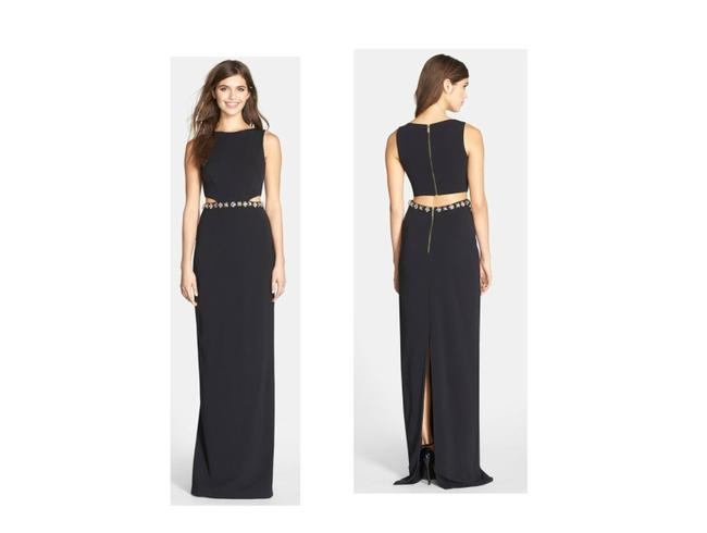 Item - Black 'queen Of The Night' Embellished Cutout Column Gown Long Casual Maxi Dress Size 6 (S)