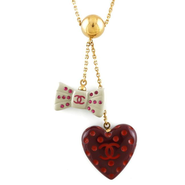 Item - Gold / Gray / Red Color Ribbon Heart Coco Mark Dot Ladies Metal Necklace