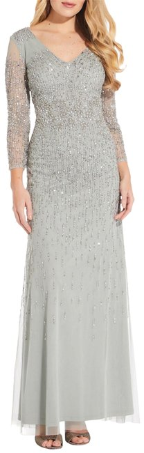 Item - Frosted Sage Women's Beaded V-neck Gown In 20 Long Formal Dress Size 16 (XL, Plus 0x)