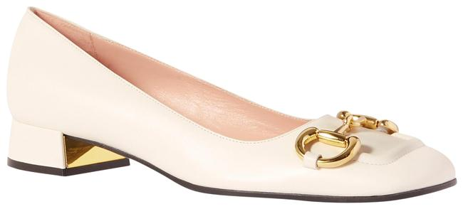 Item - White Baby Horsebit-detailed Leather Pumps Size EU 37.5 (Approx. US 7.5) Regular (M, B)