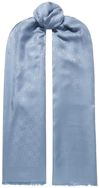 Item - Light Blue Fringed Silk and Wool-blend Jacquard Scarf/Wrap