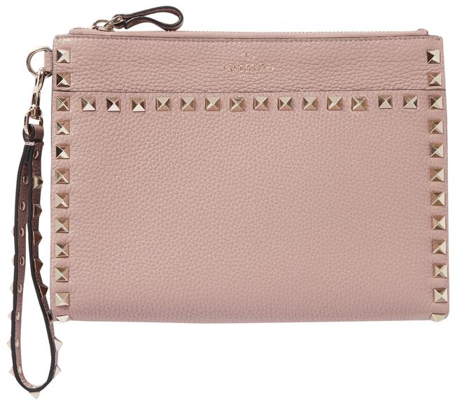 Item - Garavani Rockstud Textured-leather Pouch Blush Leather Wristlet