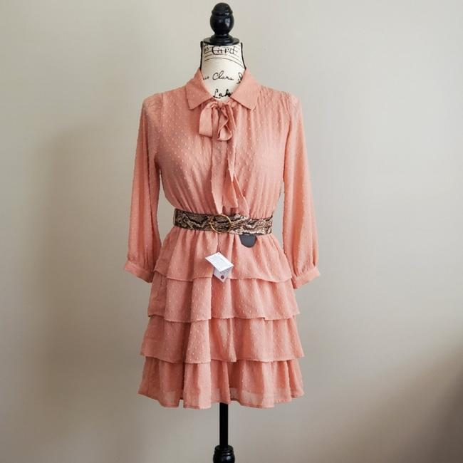 Item - Peach Belted Dotted Ruffle Tiered Short Casual Dress Size 2 (XS)
