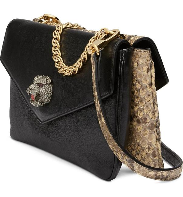 Item - RE(BELLE) Marmont Rebelle Top Handle Thiara Genuine Python Black Beige Leather Cross Body Bag