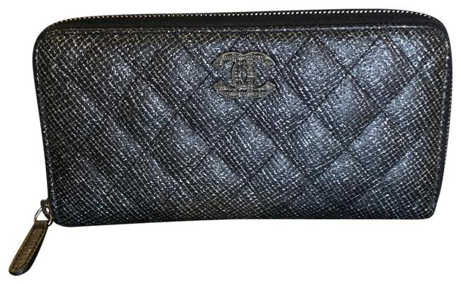 Item - Black & Silver Gusset Zip Wallet