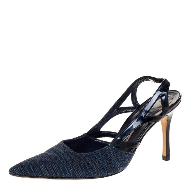 Item - Blue Canvas and Cutout Patent Pointed Toe Slingback Sandals Size US 7 Regular (M, B)