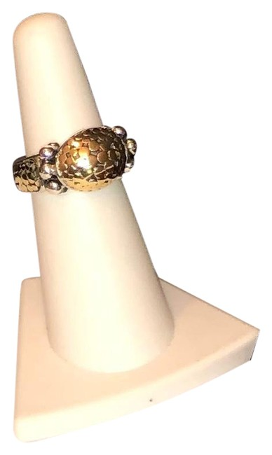 Item - 18k Yellow Gold & Sterling Silver Dome Dot Ring