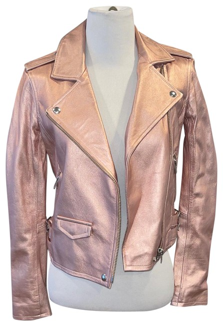Item - Pink Metallic Leather Biker Jacket Size 4 (S)