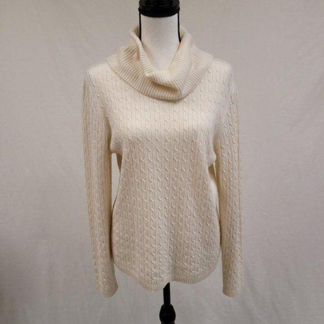 Item - XL Cowl Neck Cashmere Cable Knit Cream Sweater