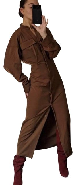 Item - Brown Shirtdress Long Casual Maxi Dress Size 6 (S)
