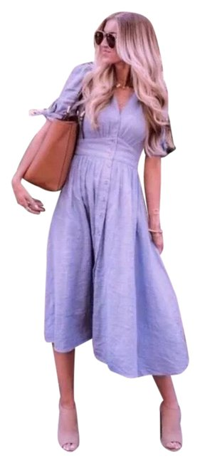 Item - Lunar Blue Bloom Love Of My Life Cotton Prairie Festival Mid-length Casual Maxi Dress Size 8 (M)