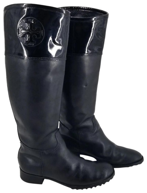 Item - Black Tall Jackson Leather/Patent Leather Riding Boots/Booties Size US 7.5 Regular (M, B)