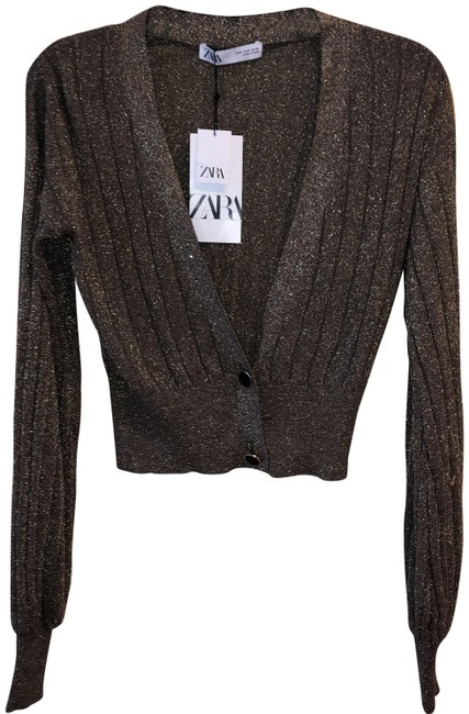 Item - Gold Shimmer Two Button Cropped Sweater. Small. Cardigan Size 6 (S)