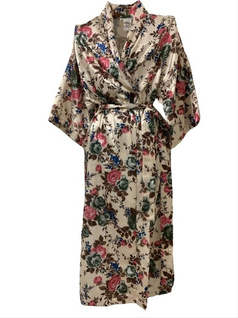 Item - Pink Green Brown Blue Over Golden Tan Kimono Anne Leslie Robe Style # 20248080 Mid-length Casual Maxi Dress Size 10 (M)