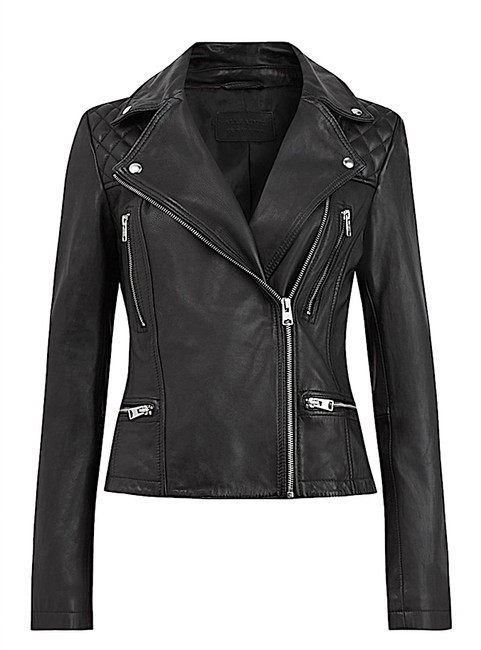 Item - Black with Tag Cargo Leather Biker Jacket Size 4 (S)