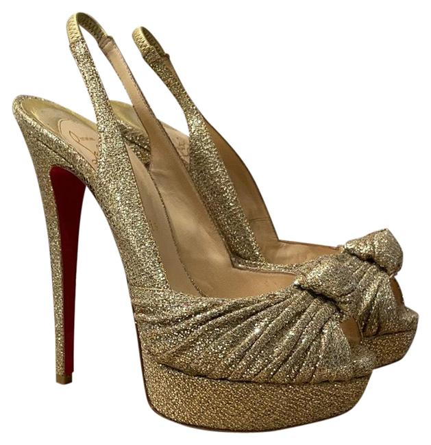 Item - Gold Glitter Jenny 150mm Slingback Platforms Size EU 38 (Approx. US 8) Narrow (Aa, N)