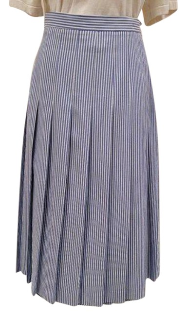 Item - Blue White Vintage Pleated and Vertical Striped Skirt Size 12 (L, 32, 33)